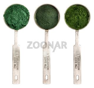 blue green, chlorella and spirulina