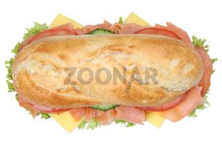Sandwich Baguette belegt mit Lachs Fisch von oben Freisteller