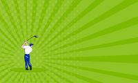 Business card Golfer Swinging Club Circle Cartoon