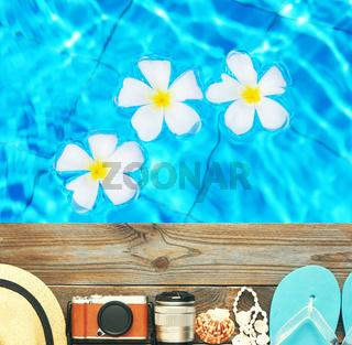 Beach items at pool