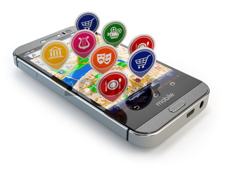 Mobile GPS navigation concept. Smartphone and application with restaurants, cinema, markets.