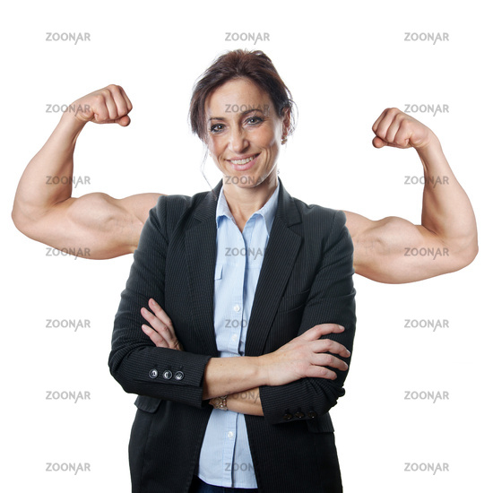 business woman flexing muscles