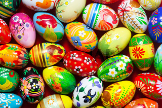 Handmade Easter eggs collection background. Floral