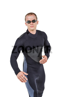 Swimmer in wetsuit and swimming goggles