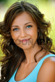 portrait charming modest young woman