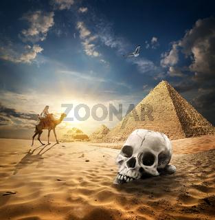 Pyramids and skull