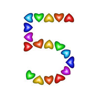 Number 5 made of multicolored hearts on white background
