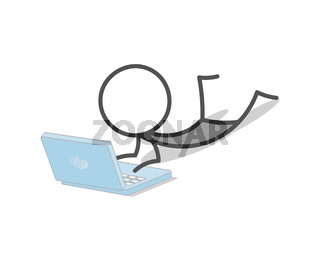 Stickman working with laptop lying on the floor.