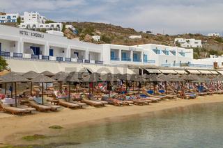 MYKONOS, GREECE - JUNE 9 2010: People Enjoying a Vacation on Mediterranean Island of Mykonos Greece