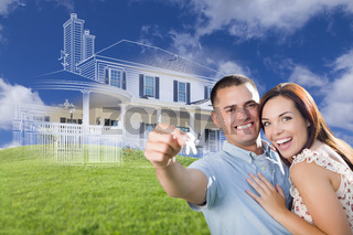 Military Couple Holding House Keys with Ghosted House Drawing Behind