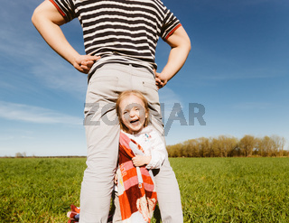 Dad and daughter having fun together