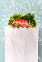 Healthy Sandwich in white  paper