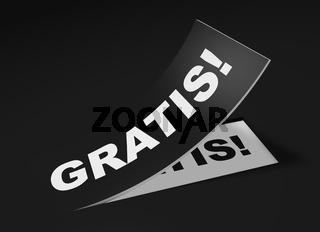 3D Etikett Schwarz - Gratis