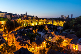 Luxembourg City downtown dusk