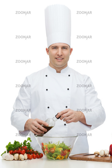 happy male chef cook cooking food