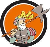 Spanish Conquistador Ax Sword Circle Cartoon