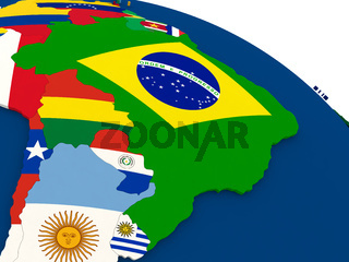 Brazil on globe with flags