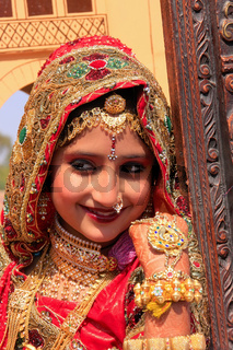 Girl in traditional dress taking part in Desert Festival, Jaisalmer, India