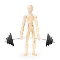 Weightlifter isolated over white background. Abstract image with a wooden puppet