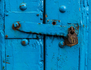 Sturdy Blue Door With Lock