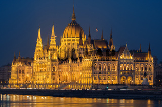 Illuminated House of Parliament in Budapest at night