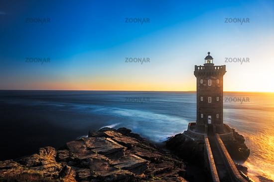 Kermorvan Lighthouse before sunset, Brittany, France