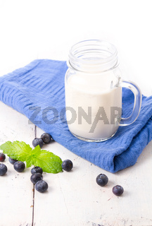 Healthy blueberry smoothie drink