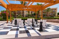 Big chessboard outdoor in tropical garden