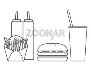 Fast Food Hamburger Vector Set