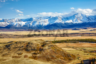 Altai mountains in Kurai area with North Chuisky Ridge on background