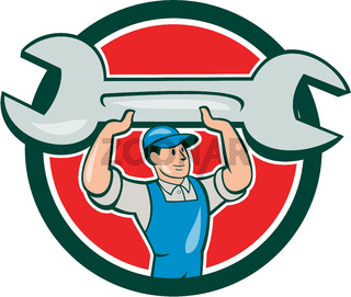 Mechanic Lifting Spanner Wrench Circle Cartoon