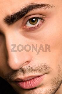 Model man#39;s face close-up
