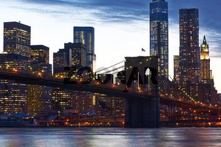 Brooklyn Bridge with lower Manhattan skyline