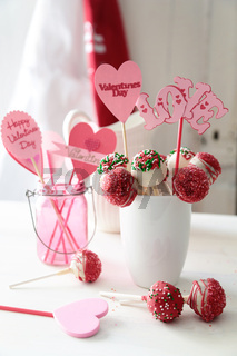 Closeup of cake pops with decorations for Valentine's Day