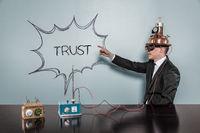 Trust text with vintage businessman