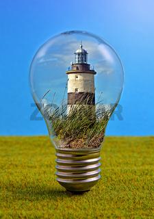 Leuchtturm in Glühbirne