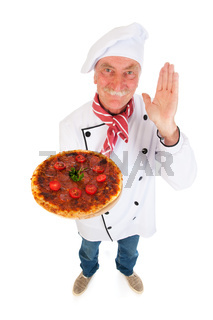 Italian cook with pizza