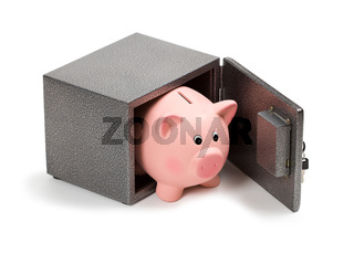Piggy bank in a safe
