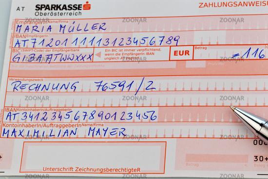 Österreichischer Überweisungsschein