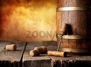Barrel with wine