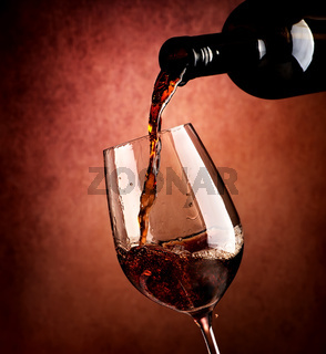 Wine on brown background