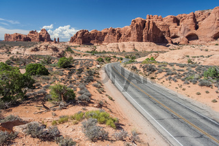 Scenic highway between Petrified Dunes and Fiery Furnace at Arches National Park Utah USA