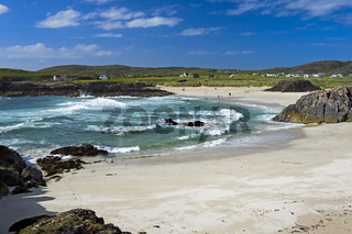 Strand in der Clachtoll Bucht, Clatchtoll, Assynt, Schottland, Großbritannien
