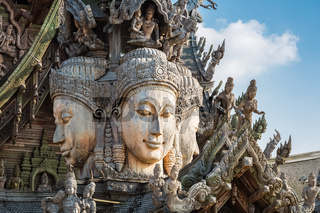 closeup of the wooden statues in sanctuary of truth