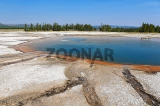 beautiful pool at the yellowstone national park USA