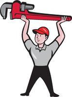 Plumber Lifting Monkey Wrench Cartoon