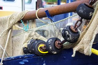 Fischernetz am Boot