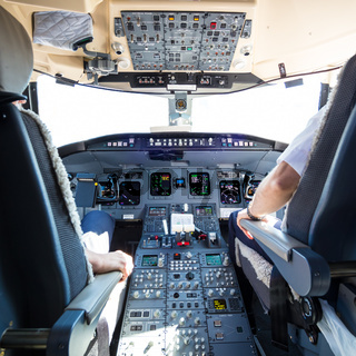 Interior of airplane cockpit.
