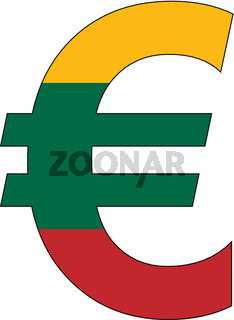 euro with flag of lithuania