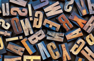 vintage letterpress wood type background
